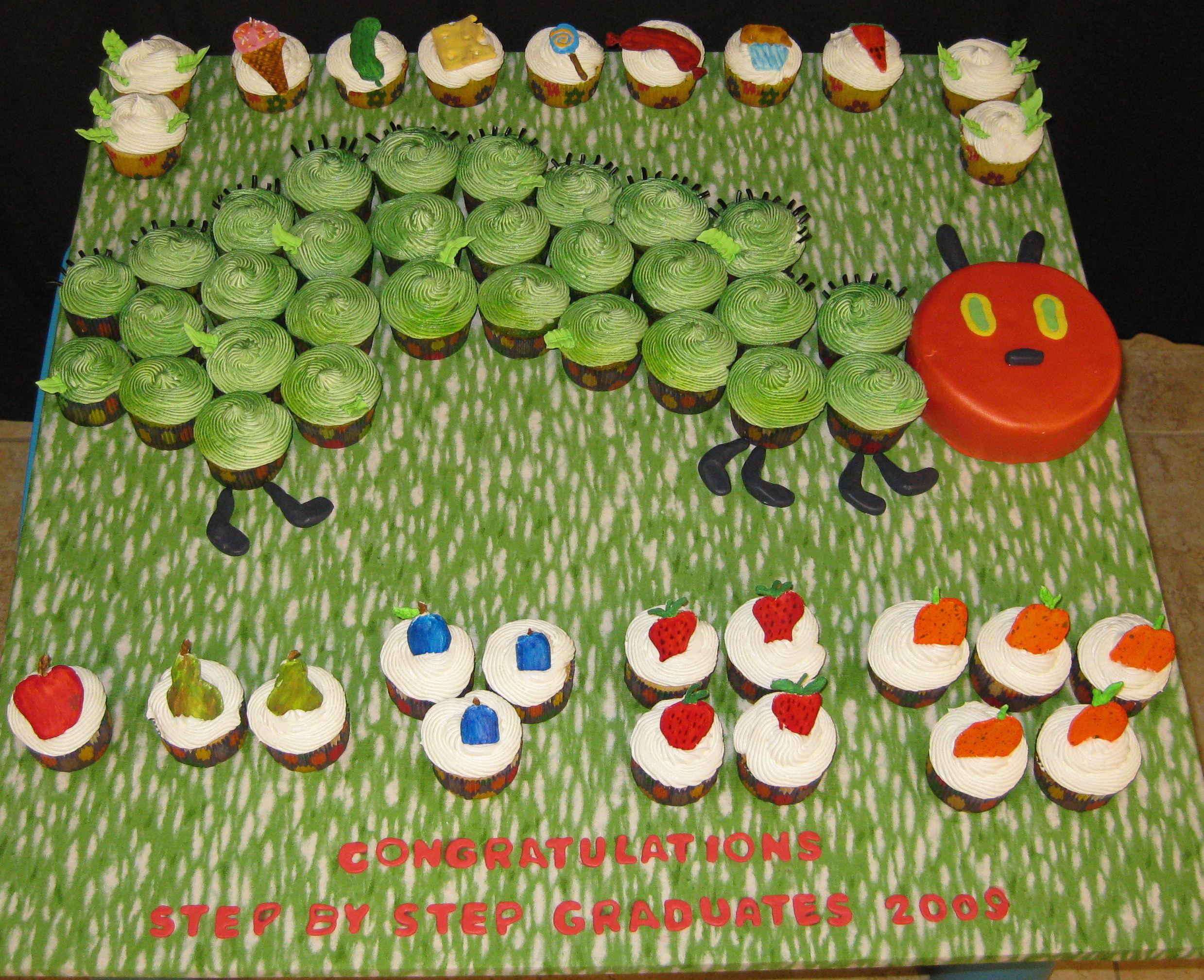 0890 The Very Hungry Catepillar cupcakes