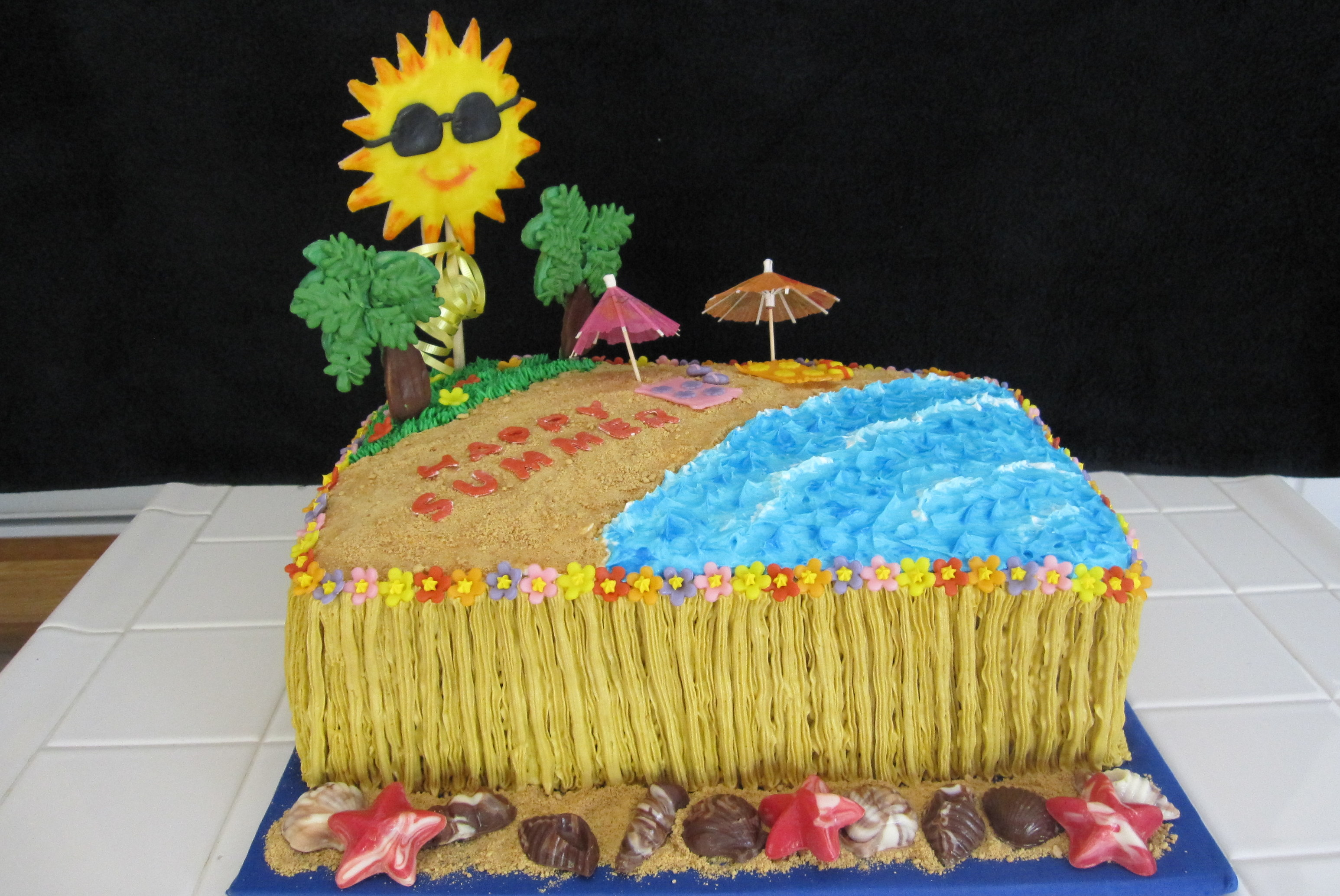 2254 Last day of school pool party cake