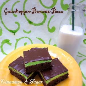 Grasshopper Brownie Bars-