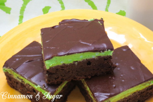 Grasshopper Brownie Bars--2