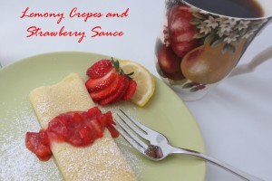 Lemony Crepes with Strawberry Sauce