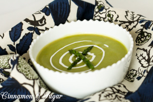 "Chock-full of veggies, this healthy, velvety ""skinny"" Cream of Asparagus Soup is so creamy, no one will know that there is virtually no added fat!"
