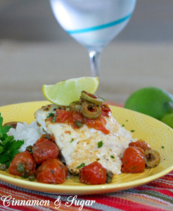 Snapper Veracruz is firm Red Snapper baked with a fresh cherry tomato sauce, flavored with green olives and capers. This dish comes together quickly but is beautiful and tasty enough to serve to guests.