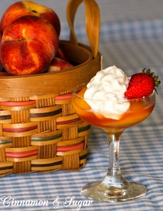 Fresh summer peaches are poached in white wine scented with honey, lemon, and vanilla. Tangy whipped sour cream provides richness to tantalize your taste buds.