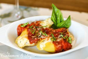 3 kinds of cheese make these stuffed shells a rich, satisfying meal while the long-simmered marinara sauce adds a depth of flavor that compliments the dish.