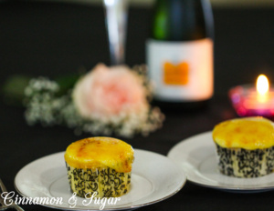 Crème Brûlée Cupcakes are vanilla cupcakes topped with a rich pastry cream that is caramelized with a kitchen torch, producing a sugary crunchy topping.