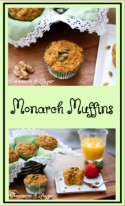 Monarch Muffins are buttery pumpkin muffins sweetened with brown sugar and cinnamon while crunchy walnuts and pumpkin seeds add textural and visual appeal.