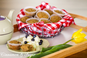 Using only 5 ingredients, these super easy to make Nutty Buttery Mini Muffins are reminiscent of pecan pie with generous amounts of pecans & brown sugar.