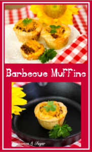 Barbecue Muffins are flaky homemade biscuits formed into hand-held muffins and stuffed with tangy barbecue meat then topped with flavorful cheddar cheese.