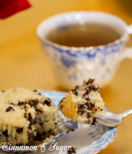 Chocolate Chip Muffins have a delicate, moist crumb, the added mini chocolate chips add a rich decadence and sparkling sugar adds visual & textural appeal.