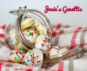 Josie's Genettis are soft, cake-like traditional Italian cookies formed into a beehive shape then brushed with sweet frosting and sprinkled with nonpareils.