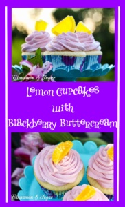 Lemon Cupcakes with Blackberry Buttercream are moist lemony cupcakes, topped with rich, creamy, slightly tart Blackberry Buttercream for a taste of summer!