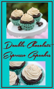 Double-Chocolate Espresso Cupcakes are a decadently rich & sinful dessert, topped with a creamy cloud of espresso frosting that is perfect for any occasion.