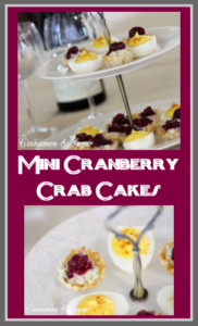 Mini Cranberry Crab Cakes are perfect appetizers for holidays with creamy flavorful crab filling in crunchy tart shells & topped with sweet cranberry sauce.