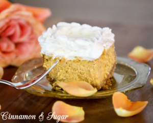 Pumpkin Cheesecake combines the warming flavors of fall with tangy cream cheese to create a luscious, creamy dessert that melts in your mouth!