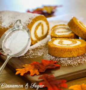 Pumpkin Roll Cake combines a thin layer of spiced pumpkin cake with creamy, tangy cream cheese rolled inside. Delicious and picture perfect presentation!