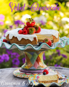 Velvety Cheesecake is a traditional English/Jewish dessert. Simple but oh so rich and velvety, the only garnish needed is fresh, jewel-toned fruit!