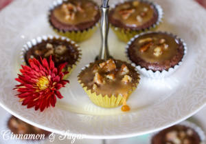 Caramel Pecan Brownies are decadently rich chocolate batter baked in mini muffin cups then topped with a simple caramel sauce and buttery, crunchy pecans.