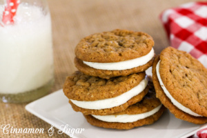 Oatmeal Crème Pie Cookies have creamy marshmallow filling sandwiched between soft & chewy lightly spiced oatmeal cookies. Perfect with a cold glass of milk!
