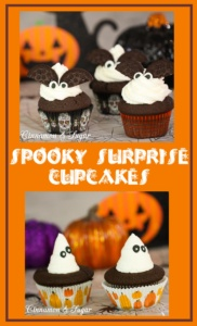 Spooky Surprise Cupcakes are delicious chocolate cupcakes encasing a gooey chocolate chip cookie dough center and topped by fluffy vanilla buttercream!