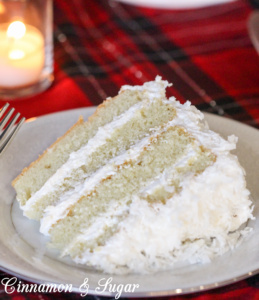 Bella's Old-Fashioned Coconut Cake uses natural coconut milk, coconut oil, and flake coconut for flavor and richness instead of artificial extracts.