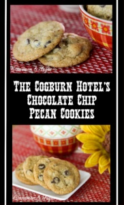 The Cogburn Hotel's Chocolate Chip Pecan Cookies combine rich cookie dough with creamy chocolate chips & buttery pecans for a satisfying treat.