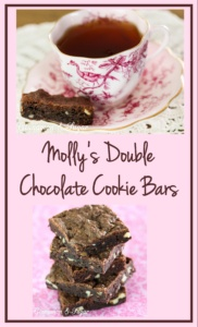 Molly's Double Chocolate Cookie Bars uses both cocoa powder & chopped dark chocolate. This delightful dessert will be a sure hit with chocolate lovers!