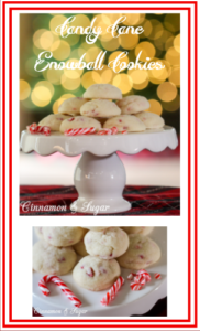Candy Cane Snowball Cookies are buttery cookies blended with crunchy festive peppermint candy canes. Perfect for holiday dessert tables and gift giving!