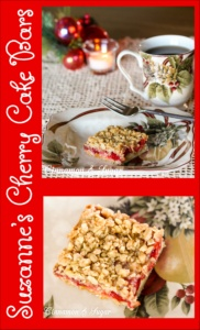 Suzanne's Cherry Cake Bars are part cake, part cookie & super easy to make starting with a boxed cake mix. Cherry pie filling adds colorful holiday cheer!