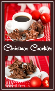 Using only three simple ingredients, these no-bake Christmas Crackles are a cross between candy and cookies. Perfect for impromptu treats or bake sales!