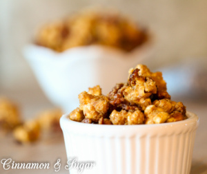 An addictive snack, Bacon Pecan Popcorn combines salty bacon with buttery pecans and crunchy popcorn and drenched with a praline style caramel sauce.
