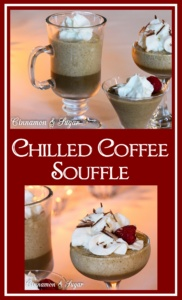 Chilled Coffee Souffle is a refreshing dessert with an airy fluffy topping sitting on a sweet and creamy coffee concoction.