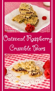 Oatmeal Raspberry Crumble Bars mix up quickly with a hearty, tasty crust and topping sandwiching sweet-tart raspberry filling providing a satisfying treat.
