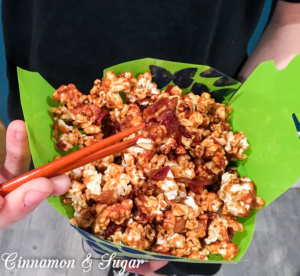 A quartet of gourmet popcorn include delicious recipes for Bacon Teriyaki, Cake Batter, Cinnamon Roll, and Scotcheroos. Easy and yummy treats!