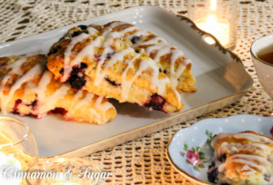 Blueberry Scones with Lemon Glaze replaces heavy cream with Greek yogurt resulting in a luscious, flavorful pastry with fewer calories.