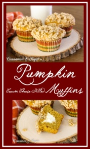 Pumpkin Cream Cheese-filled Muffins with Streusel Topping are lightly spiced muffins with a tangy, creamy center, while streusel provides crunchy contrast.