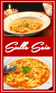 Sullo Scio is a soup from the Pisa, Italy region. Simple ingredients like garlic, rosemary, tomatoes, chick peas, and pasta combine for a satisfying dish.