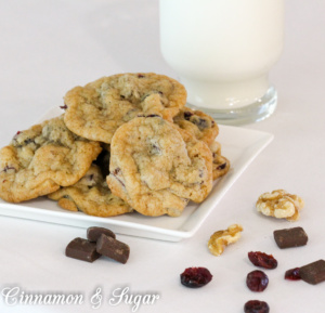 Cranberry Walnut Chocolate Chunk Cookies have an amazing combination of flavors and textures that are encased in a soft and chewy cookie base.