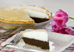 Sugar High Chocolate Meringue Pie is a rich, chocolaty pie that is lightened by a generous topping of fluffy, fool-proof, meringue.