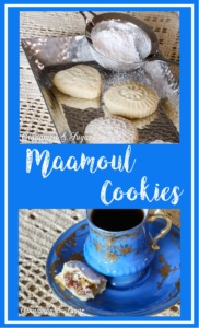 A traditional Middle Eastern treat, Maamoul Cookies are shortbread type cookies stuffed with dates or walnuts & pressed into an intricate mold before baking. Recipe shared with permission granted by Catherine Bruns, author of FROSTED WITH REVENGE. For the full recipe please visit: https://cinnamonsugarandalittlebitofmurder.com/2017/05/maamoul-cookies/