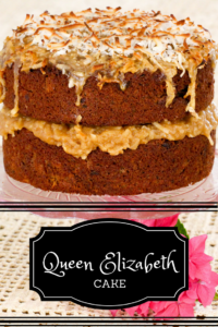 Queen Elizabeth Cake is a moist cake relying on dates instead of butter for tenderness and may have been prepared for the coronation of Elizabeth II in 1953