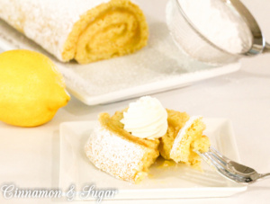 Lemon sponge cake that is quick to bake up then filled with luscious lemon curd, Lemon Jelly Roll Cake will be the star of any dessert table.