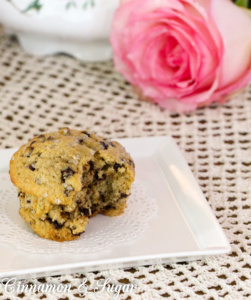 Banana Chocolate Chip Muffins are tender muffins filled with mini chocolate chips. Whole wheat flour provides a boost of nutrition for breakfast or snacks.