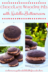 Chocolate Whoopie Pies w/ Nutella Buttercream Filling are part cookie, part mini cakes. Moist cake sandwiches Nutella Buttercream flavored with Frangelico!