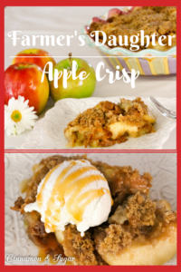 Farmer's Daughter Apple Crisp relies on simple, tasty ingredients that are farm-fresh to create a homey, comforting dessert. Serve warm with a scoop of vanilla ice cream and caramel drizzle. Recipe shared with permission granted by Peg Cochran, author of SOWED TO DEATH.