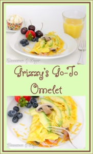 With mushrooms, ham and cheese, Grizzy's Go-To Omelet is a satisfying and hearty dish to serve for a quick breakfast, brunch, or even dinner.