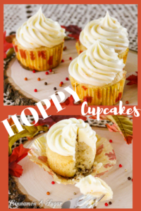 With the unexpected addition of citrus IPA, these decadent cream cheese frosting topped Hoppy Cupcakes have a refreshing orange & lime flavor!