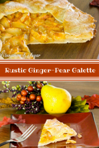 Rustic Ginger-Pear Galette comes together quickly using fresh, ripe pears, candied ginger, and tart apricot jam for shine & color. A delicious fall dessert!