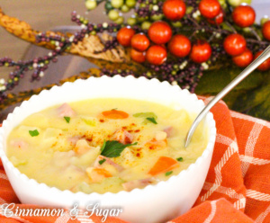 Cheesy Potato Chowder has plenty of vegetables and ham to make it a warm, comforting dish to serve before or after a chilly night of Trick-or-Treating!