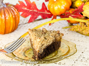 Vegan Pumpkin Brownie Pie with Pecan Streusel, with its 3 flavorful layers, is so rich and decadent tasting no one will ever miss the eggs and dairy.